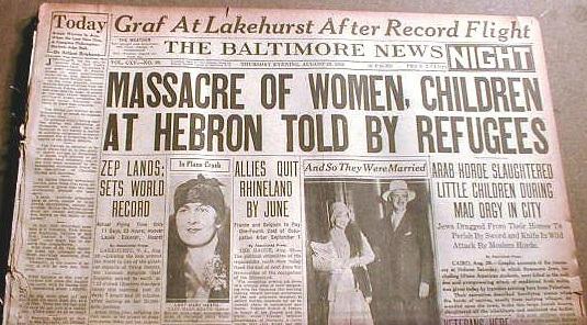 עיתון מדווח על הטבח בחברון