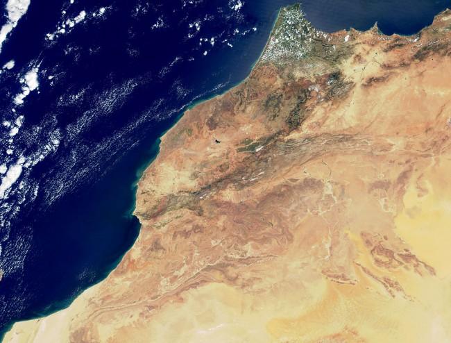 צילום לוויין של מרוקו.