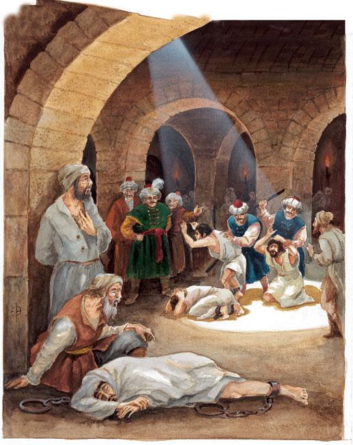 """איור על סמך ציורים ומכתבים מתקופת העבדות במרוקו איור: יבגני ברשקוב. אתר האינטרנט של המגזין """"מסע אחר""""."""