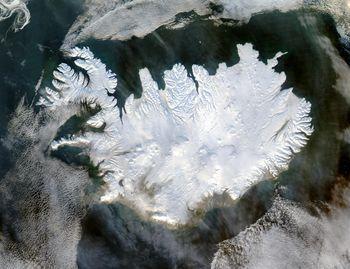 איסלנד בחורף - מפת לוויין