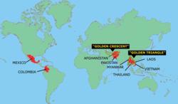 איזורים עיקריים של ייצור אופיום בעולם