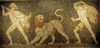 פסיפס צייד האריות מפלה