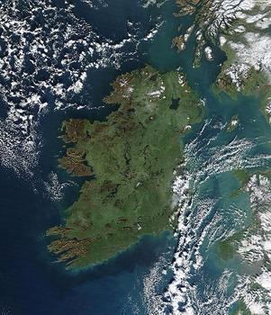 מפת לוויין של אירלנד