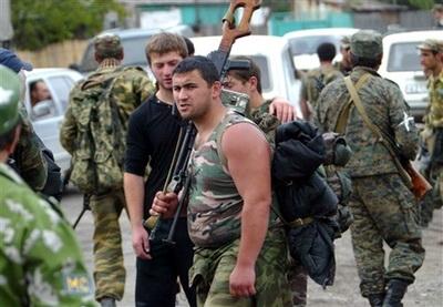 חיילים גאורגים עוזבים את צחינוולי
