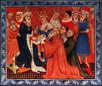 בני משפחת פולו מוסרים לח'אן את איגרת האפיפיור