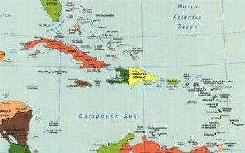מפת האיים בים הקריבי