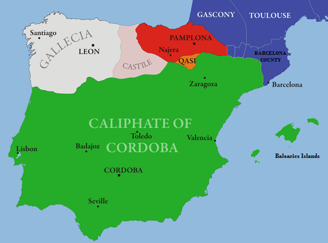 מפה של אל אנדלוס והממלכות הנוצריות בחצי האי האיברי