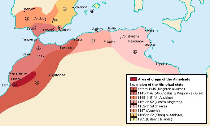 מפת התפשטותם של המווחדון. באדיבות Wikipedia