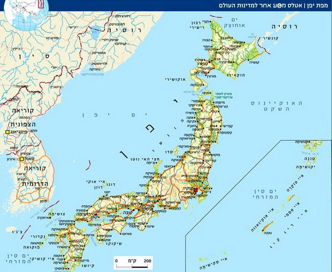 """מפת יפן. באדיבות המגזין האלקטרוני של """"מסע אחר"""""""
