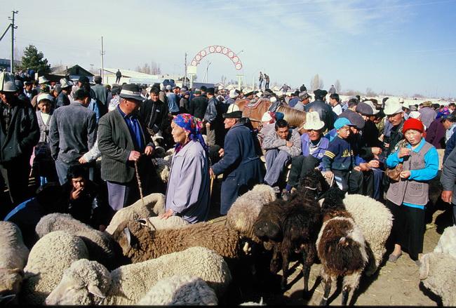 טיול לקירגיזסטן 0 שוק יום א' בקרקול. צילום: גילי חסקין. ספטמבר 2000