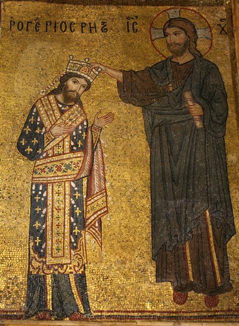 רוג'ר השני, מקבל את ברכתו של ישו. פסיפס בכנסיית מרטוראנה, פלרמו. באדיבות Wikipedia