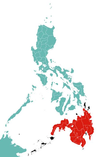 האי מינדנאו. מסומן באדום. באדיבות Wikipedia