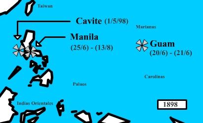 """מפת מלחמת ארה""""ב - ספרד"""