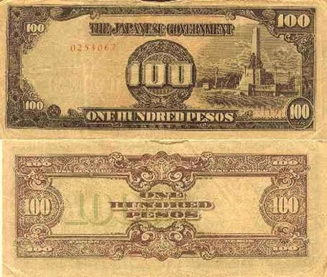 שטר של 100 פזוס פיליפיניות, שהנפיקו היפנים.