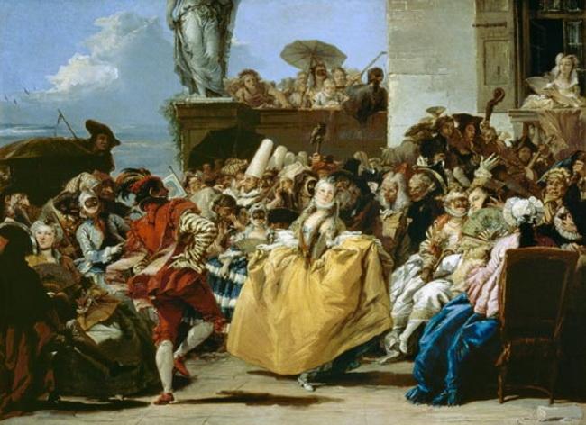 קסצינה מהקרנבל באיטליה. ציור של טייפולו מ-1750. באדיבות Wikipedia