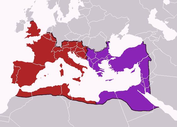 האימפריה הרומית המחולקת, בתקופת תאודדוסיוס. באדיבות ויקיפדיה