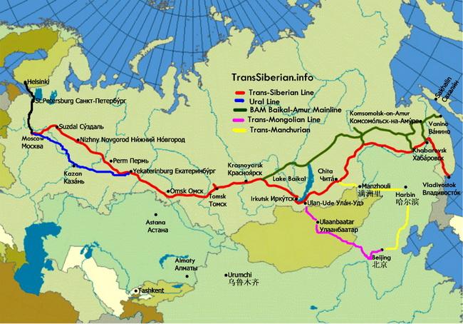מפת נתיבי הרכבות החוצות את רוסיה
