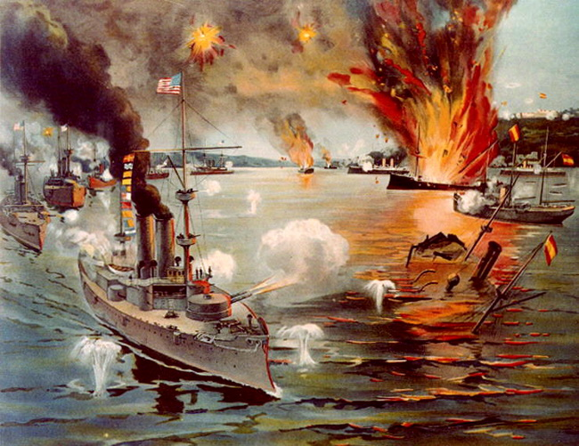 """קרב מפרץ מנילה. מלחמת ארה""""ב - ספרד. באדיבות ויקיפדיה"""