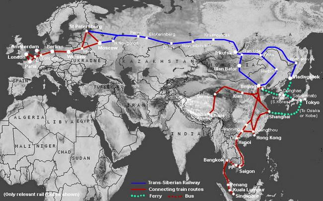 נתיבי הרכבות באסיה