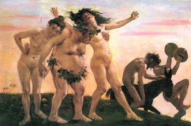 הבכחנליה- חגיגות לכבודו של דיוניסוס - בכחוס - אל היין. ציור של לואיס קורננת היינמקהרנד מ-1898