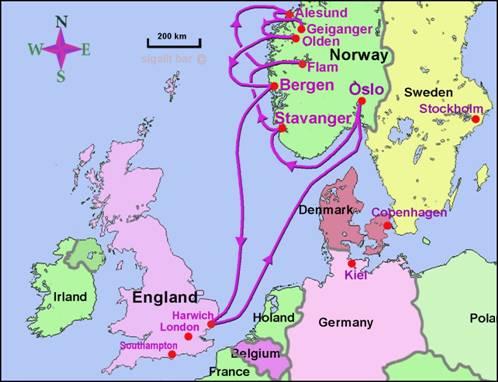 מפת קרויז לנורבגיה