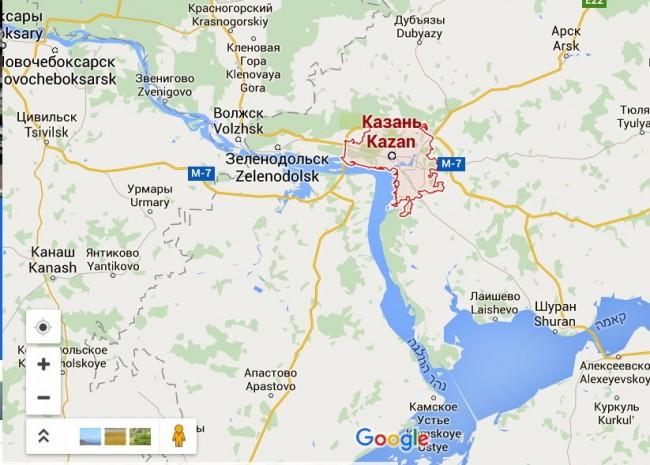 קאזאן שעל הוולגה. מתוך Googel Maps