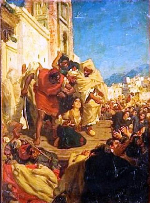 """הציור """"הוצאתה להורג של יהודייה מרוקאית (סול חגואל)"""" מאת אלפרד דאודנק"""