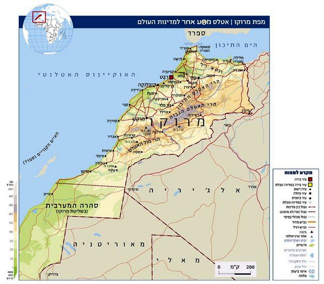 """מפת מרוקו, באדיבות אתר האינטרנט של המגזין """"מסע אחר"""":"""