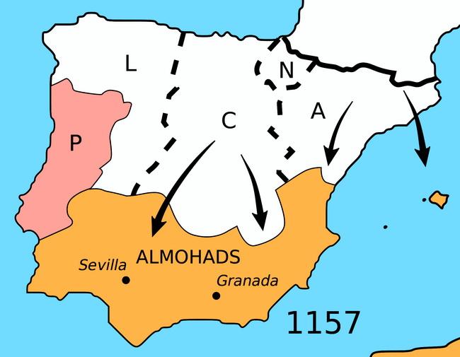 מפת הרקונקיסטה. הכיבוש מחדש של ספרד. באדיבות ויקיפדיה