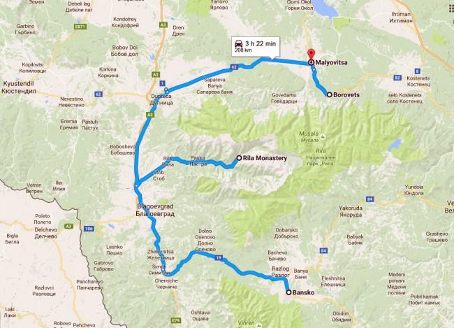 מפת הטיול באזור רילה
