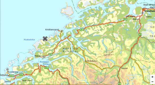 הכביש הטראנס אטלנטי בין טרונדהיים לכריסטינסונד